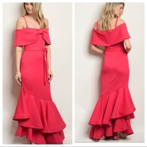 INA hot pink bare shoulder ruffled evening gown